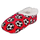 Snoozies Soccer Slippers RED