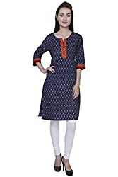 Blueberii Casual Printed Indigo Blue 3/4th Sleeve Women Kurti - Medium