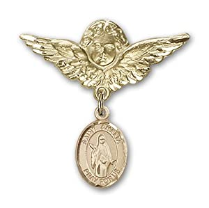 14K Gold Baby Badge with St. Amelia Charm and Angel with Wings Badge Pin