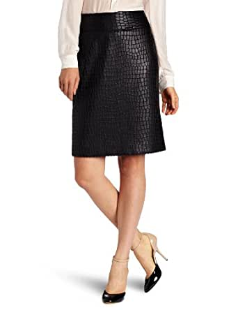 Anne Klein Women's Alligator Skirt, Black, 2