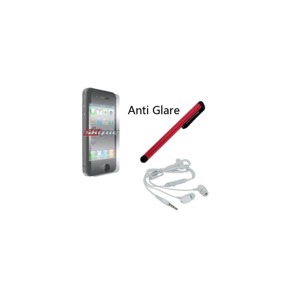 Red Stylus Pen Anti Glare Screen Protector + White Earphone w/mic for Iphone 4S