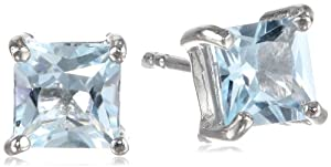 Amazon+Curated+Collection Sterling Silver 6mm Square-Cut Blue Topaz Earrings