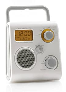 Aquabourne FM Bath / Shower Radio, can be used as an MP3 speaker. Built in stand can also reversed for use as a hook