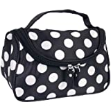 Beige Zipper Cosmetic Bag Toiletry Bag Make-up Bag Hand Case Bag with Dot Patterns
