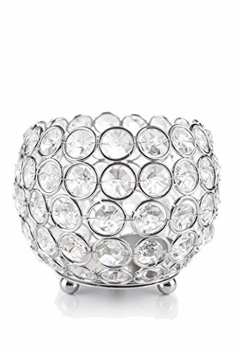 "Glass Crystal Beaded Tealight Votive Candle Holders Wedding Centerpieces 4"" Silver"