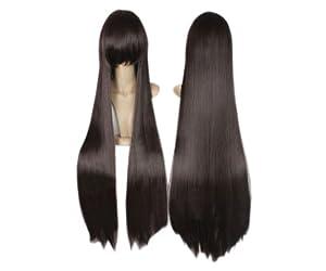 Cosplay peluca marrón oscuro 100cm 538 traje recto pelo