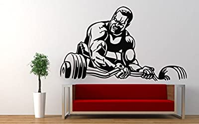 Wall Decal Vinyl Sticker Bodybuilding Gym Sport Muscle Fitness Decor (25q1)
