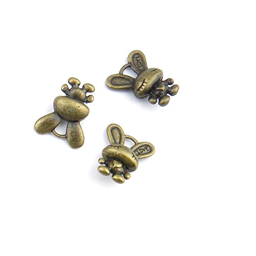 Priced Per 290PCS Antique Bronze Jewelry Making Charms Findings Supplies Wholesale Ancient Fashion Bulk Retro Supply P71187 Little Rabbit