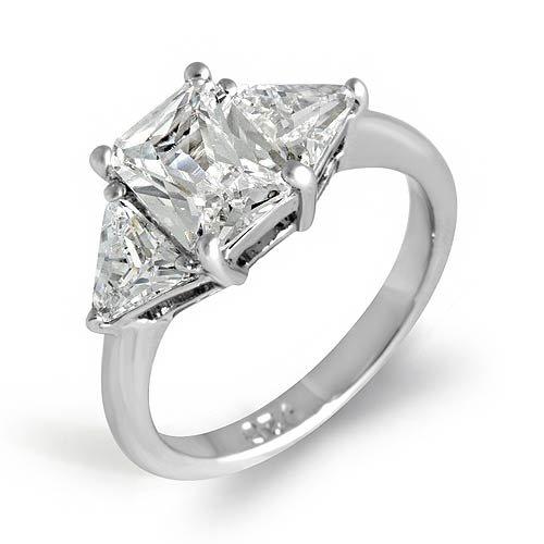 3 Stone Trillion Emerald Anniversary Cz Ring Sterling Silver 925 Sz5