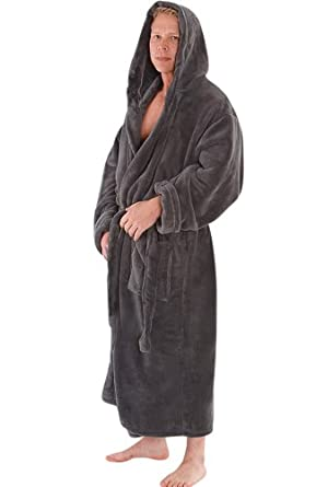 Del Rossa Men's Classic Fleece Hooded Bathrobe Robe, Large XL Steel Grey (A0115STLXL)