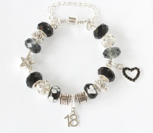 The Charm Cabin Gift Boxed 18th Birthday Charm Bracelet - Black And Cool Grey - Silver - Size 20Cm