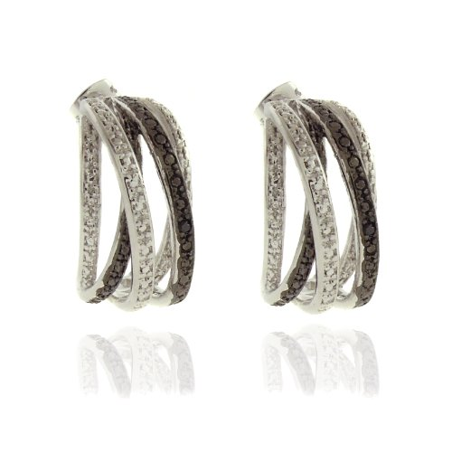 Silver Overlay Diamond Accent Black and White Orbital Hoop Earrings