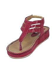 Ten Women's Artificial Leather Wedge Sandals