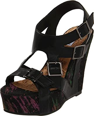 Not Rated Women's Mix Up Wedge Sandal,Black,6 M US