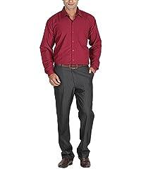 LAGNESH Men's Long Sleeve Shirt (Red, 38)