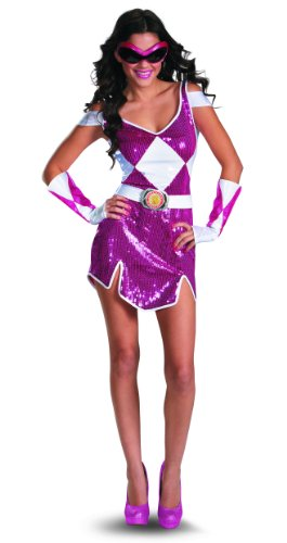 [Disguise Sabans Mighty Morphin Power Rangers Pink Ranger Glam Womens Adult Costume, Pink/White,] (White Ranger Adult Costumes)