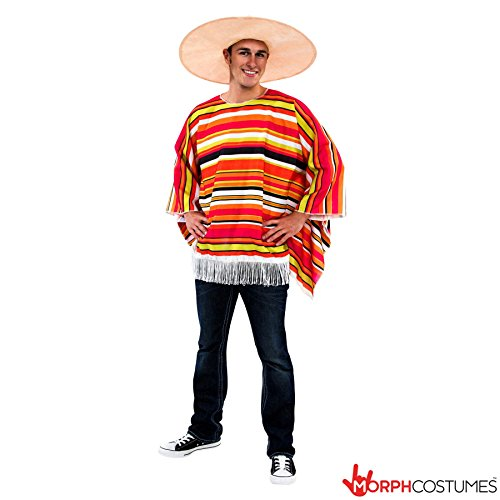 Mens Colourful Mexican Poncho Fancy Dress Costume - Cheap Colorful Costume (Mexican Fancy Dress Costume)