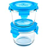 Wean Green 2-Pack Wean Bowls Glass Food Containers, Blueberry