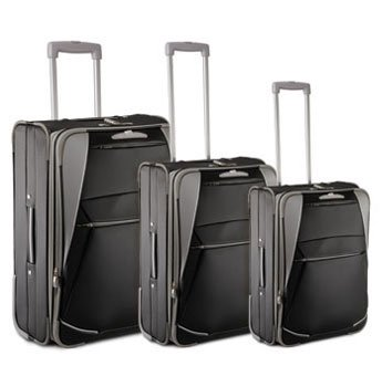 Trolley Set 4pezzi, 3Trolleys 70-60-50cm + beauty case, Nero/Grigio, garanzia 2anni Herst