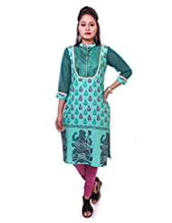 Indibelle Women Green Hand Block Printed Emboidered Cotton 3|4th Sleeve Kurti