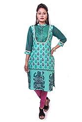 Indibelle Women Green Hand Block Printed Emboidered Cotton 3|4th Sleeve Kurti
