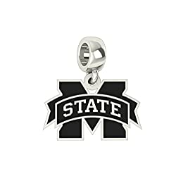 Mississippi State Bulldogs Sterling Silver Logo Dangle Charm Fits All Pandora Style Charm Bracelets.