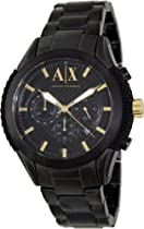 Armani Exchange Chronograph Black Dial Black IP Stainless Steel Mens Watch AX1223