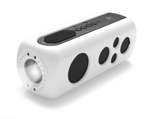 Pyle Pwpbt75Wt Sound Box Splash 2 Bluetooth Rugged And Splash-Proof Speaker System With Built-In Flashlight And Hand-Crank Charger, White