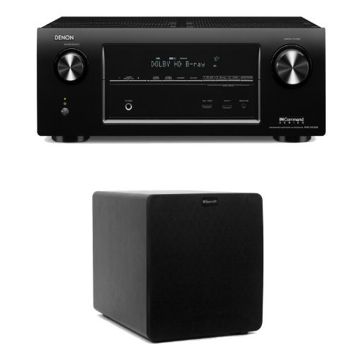 Denon Avr-X3000 In-Command 7.2 Channel 4K Networking Home Theater Receiver Plus A Klipsch Sw-110 10-Inch Powered Subwoofer