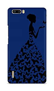 AMEZ designer printed 3d premium high quality back case cover for Huawei Honor 6 Plus (navy blue princess)
