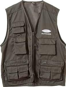 Fladen Outdoor Gilet de pêche à 11 poches Vert Olive Large