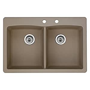 Blanco 441285-2 Diamond 2-Hole Double-Basin Drop-In Granite Kitchen