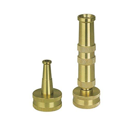 Sun Joe SJI-4BHNC Ultimate Solid Brass, Heavy Duty Adjustable Twist Hose Nozzle and Bonus Jet Sweeper Nozzle (Brass Hose Nozzle compare prices)