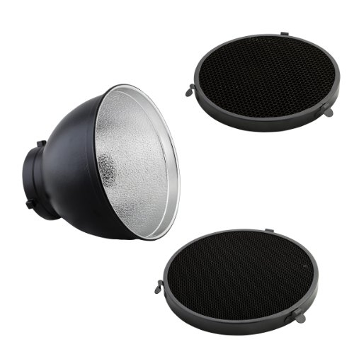 PhotoSEL FRS558BH Standard Reflector with 2 Honeycomb Grid Set - 55 Degrees, 20cm Diameter, S Type Mount For PhotoSEL / Bowens Studio Flash