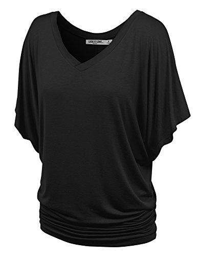 LL WT1038 Womens V Neck Short Sleeve Dolman Top XL BLACK (Women Tops Short Sleeve compare prices)