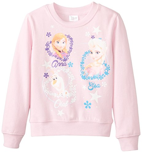 Frozen Little Girls' Anna Elsa Olaf Crew-Neck Sweatshirt