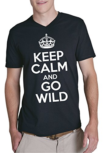 keep-calm-and-go-wild-v-neck-t-shirt-negro-xxl