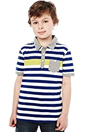 Pure Cotton Neon Striped Polo Shirt