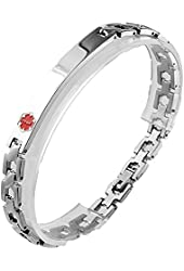 Thin Stainless Steel Medical Alert Link ID Bracelet - Great for Personal Engraving for Men & Women