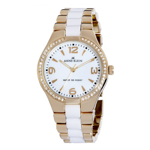 AK Anne Klein Women's 109118WTGB Swarovski Crystal Accented Gold-Tone Ceramic Dress Watch