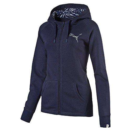 Puma Fun Aop H Sweat Jkt W Felpa Lunga con Cappuccio, Blu, XL