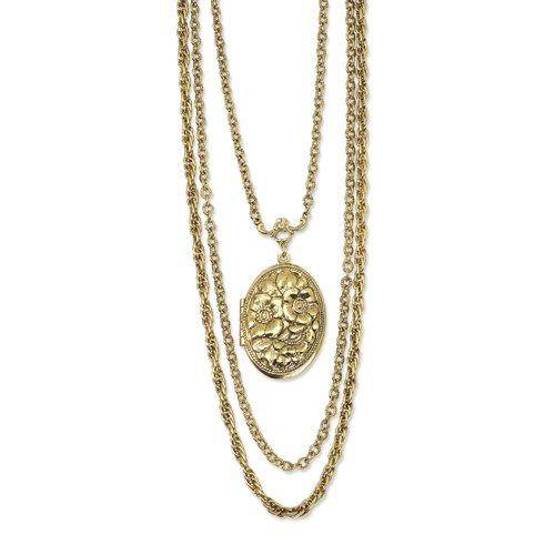 Brass-Tone Floral Locket 24 Multi-Strand Necklace
