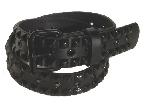 BeltsandStuds Goth Punk Two Row Black Stud Studded Snap on Belt L 38 Black