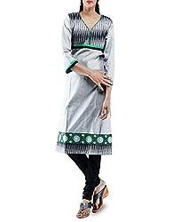 Unnati Silks Women Pracheenkala grey pochampally ikkat cotton kurta