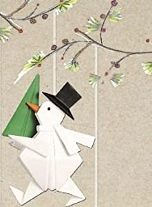 #!Cheap Porcelain Origami Snowman - Gift Boxed Festive Hanging Ornament - Assorted Designs, One Selected At Random