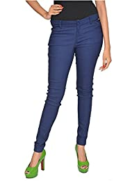 Blue Cotton Lycra Strechable Solid Formal Look Trousers For Womens Girls And Ladies Slim Fit Casual Pant By Fashion...