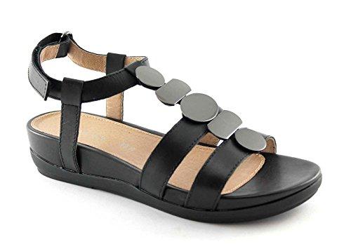 STONEFLY EVE 106353 nero scarpe donna sandali pelle cinturino pietre 36