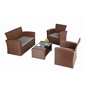 Baner Garden (N87-BR) 4 Pieces Conversational Outdoor Furniture Complete Patio Cushion Wicker Rattan Garden Set, Brown