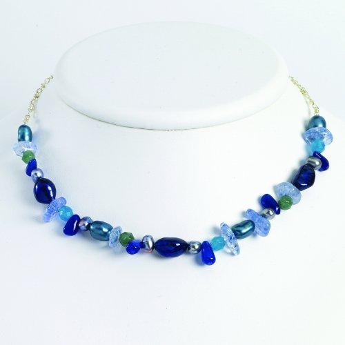 Silver Aventurine/Blue Quartz/Freshwater Cultured Pearl Necklace. 18in long.