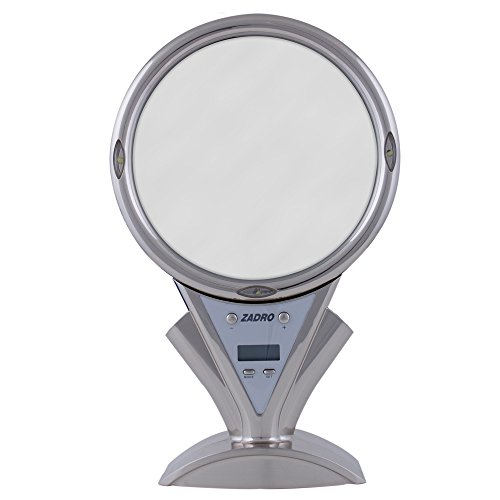 Zadr0 5X - 1X Power Zoomled Lighted Shower Mirror, Stainless Steel front-992515